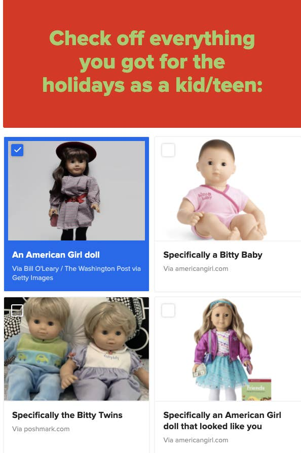 A checklist with an american girl doll, a bitty baby, the bitty twins, and an american girl doll that looked like you