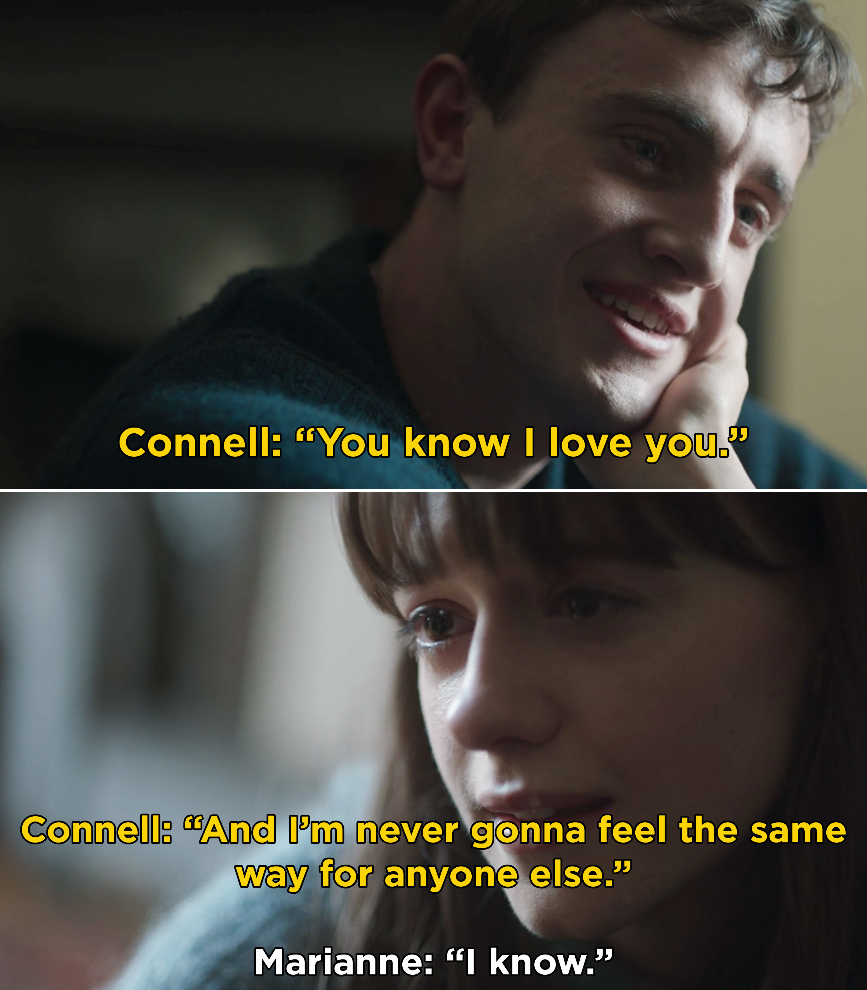 Connell telling Marianne that he will always love her