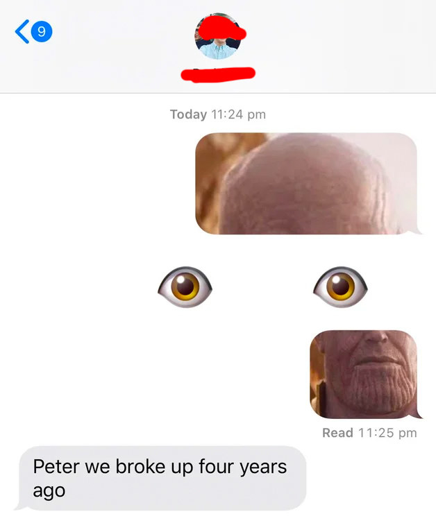 weird text of a person making an emoji thanos with the eyes emoji and it looks strange