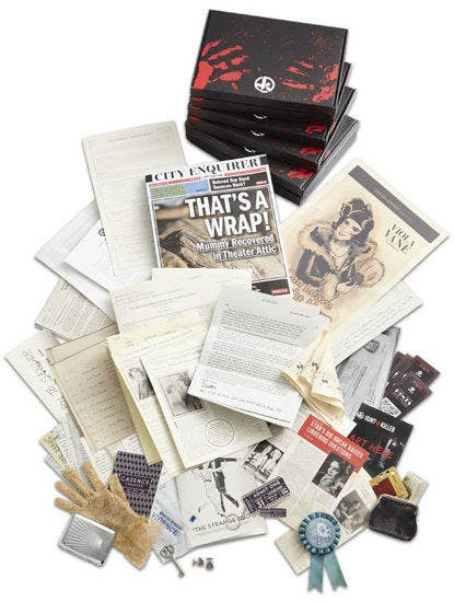 A pile of newspapers, documents, and miscellaneous objects included in the Hunt A Killer box to solve the mystery