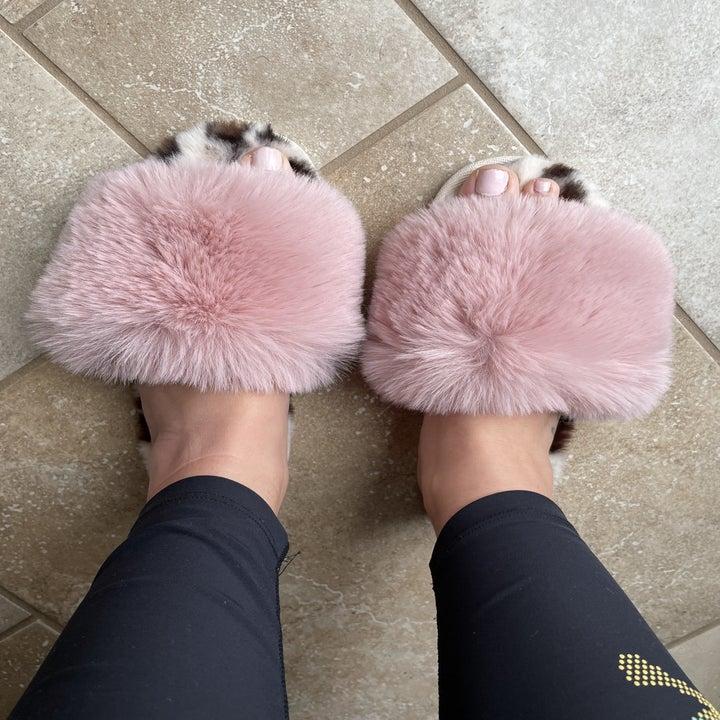 Me wearing fuzzy slippers