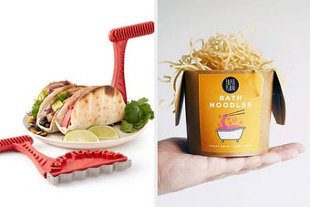 left image: taco toaster tool, right image: bath noodles