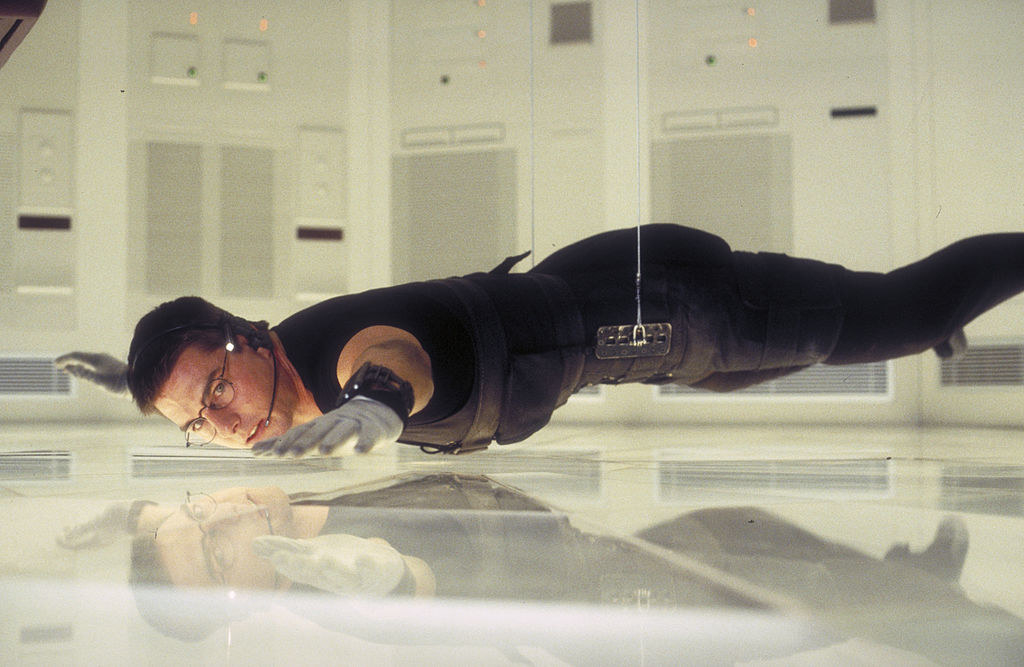 Ethan Hunt inches off crashing into the floor in Mission: Impossible
