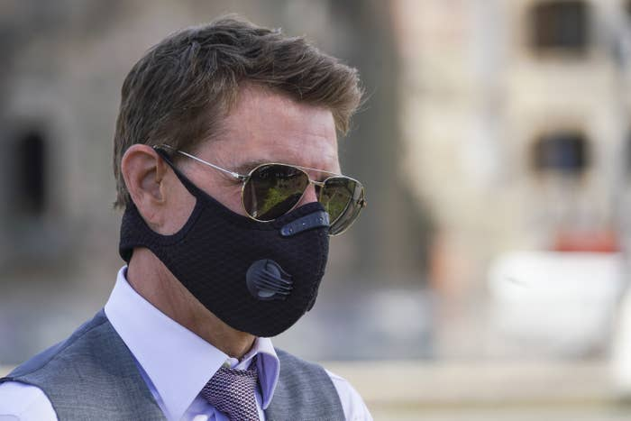 Tom Cruise wearing a mask on the set of Mission: Impossible 7
