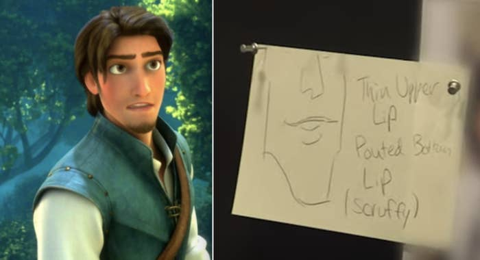 "A side-by-side of Flynn Rider and a post-it note from Disney's ""hot guy"" meeting"