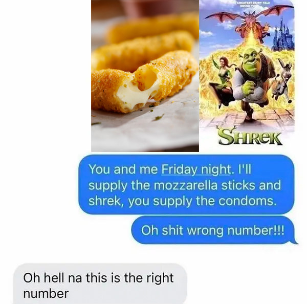 wrong number text reading you and me friday night ill supply the mozzarella sticks and shrek, you supply the condoms and the other person says this is the right number