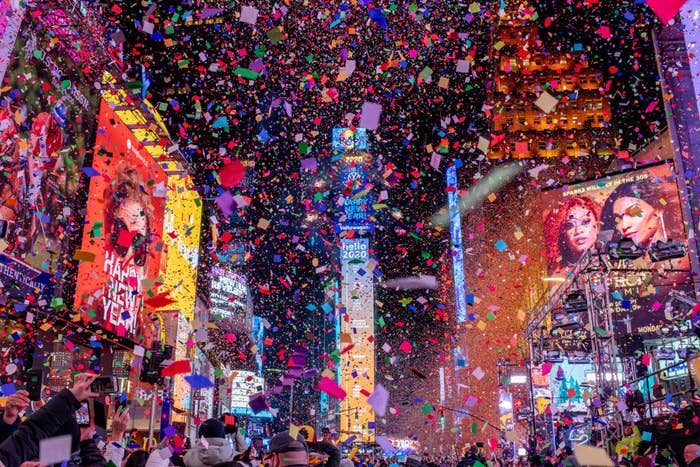 New Year's Eve in NYC with confetti