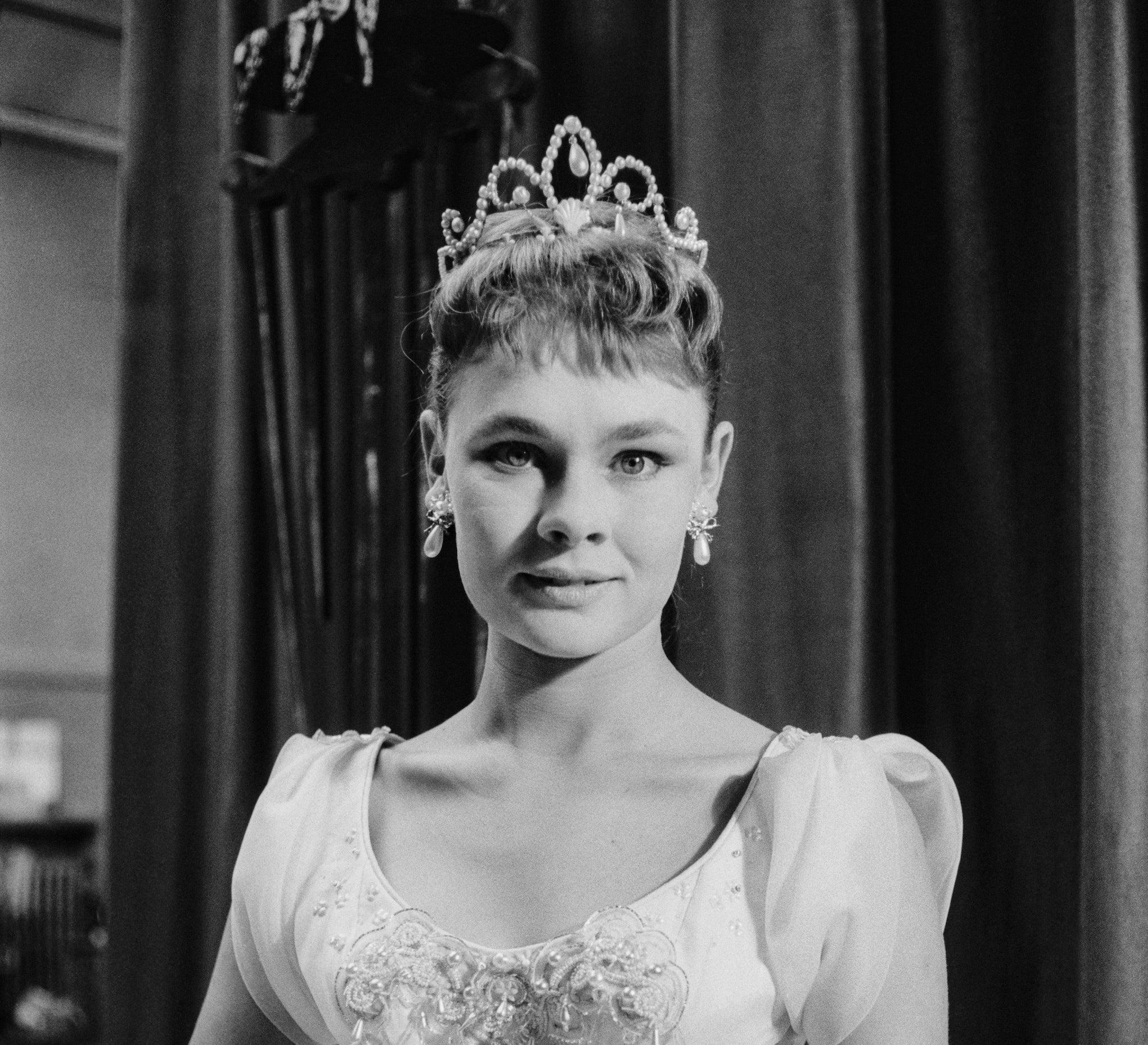 Judi Dench dressed like a princess