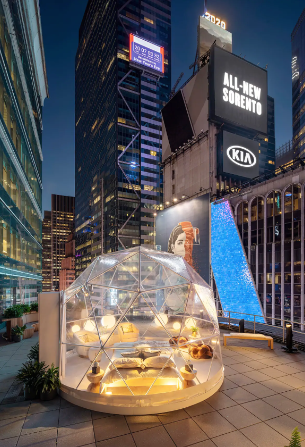 Outdoor dome with view of ball drop and 2020 countdown