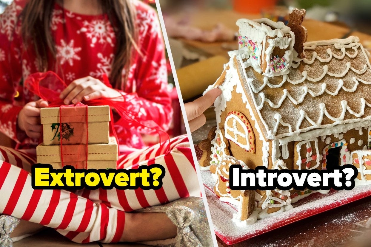 "Someone opening presents titled ""extrovert"" and decorating a gingerbread house titled ""introvert"""