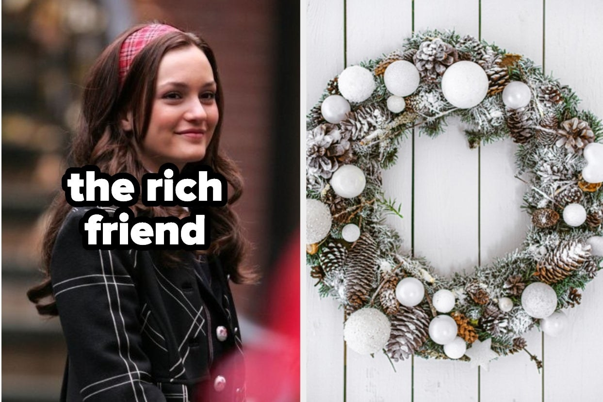 "Blair Waldorf titled ""the rich friend"" and a white frosted wreath"