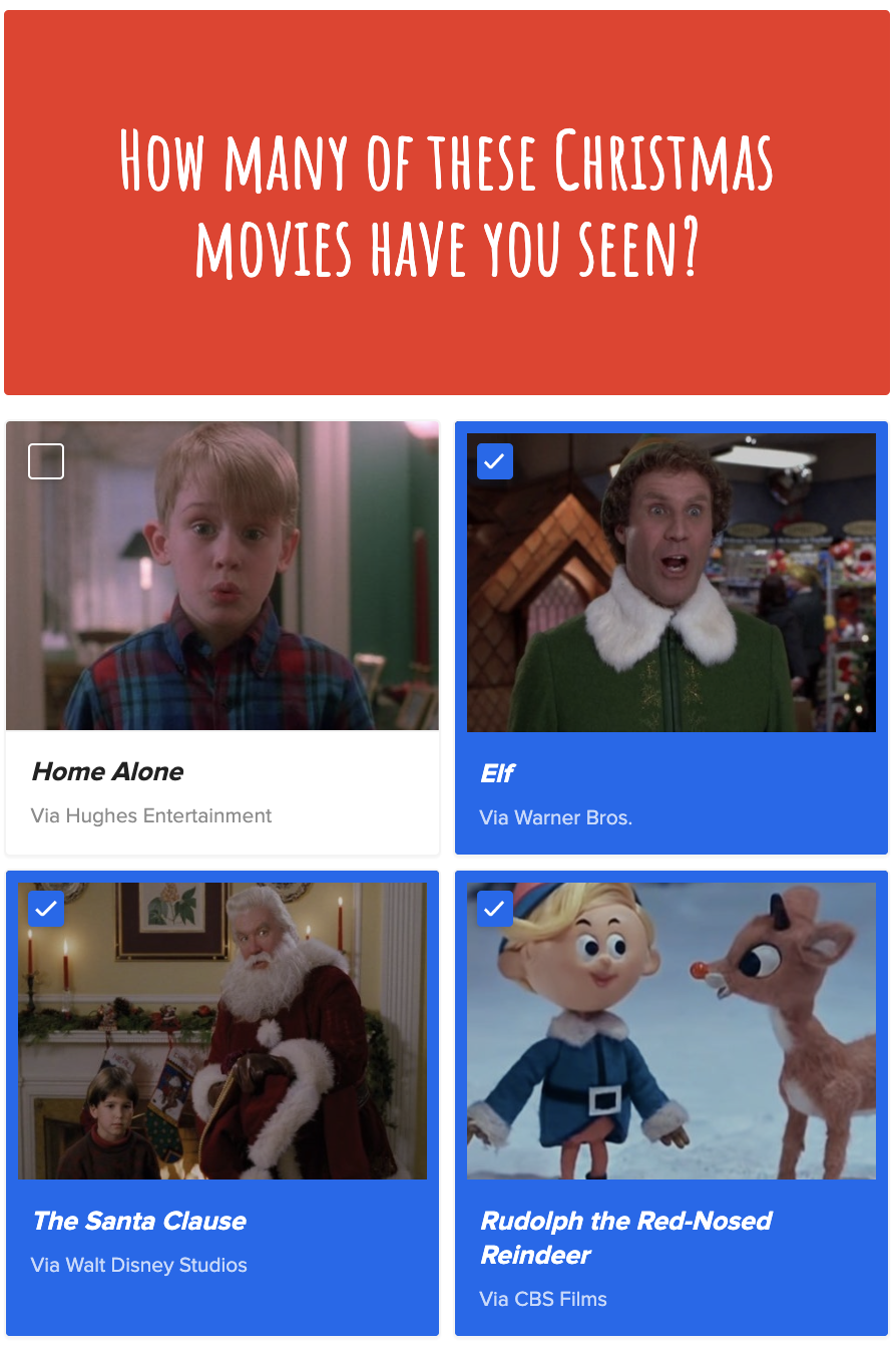 A checklist including Home Alone, Elf, The Santa Clause, and Rudolph