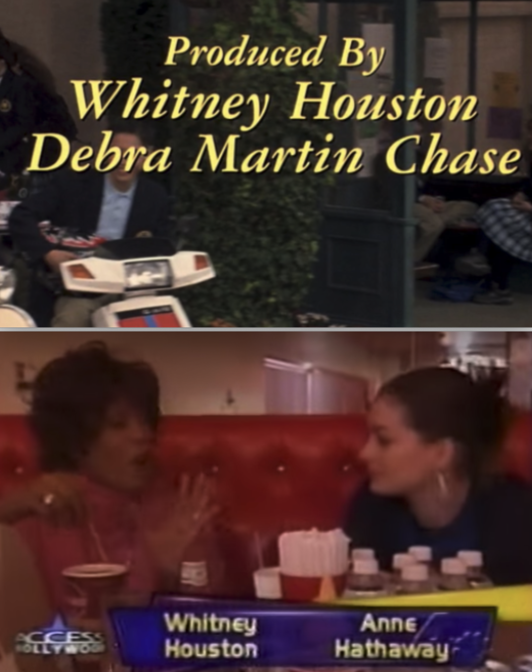 "The credits of ""The Princess Diaries"" and an interview between Whitney Houston and Anne Hathaway"