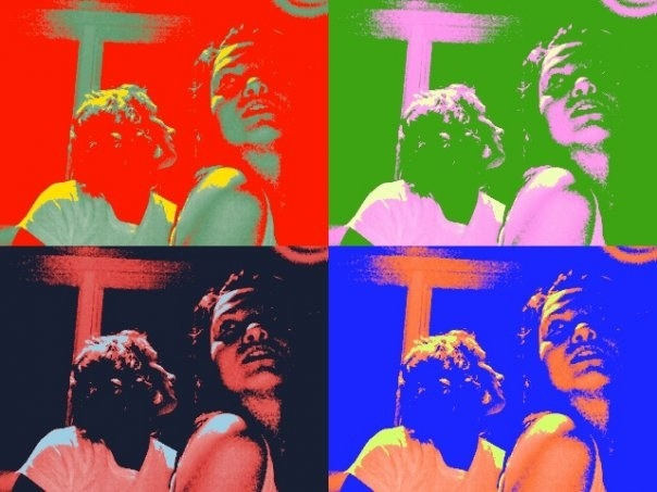 Andy Warhol-style four-picture grid with two women posing in each picture with different colors for each