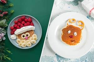 A Santa pancake versus a reindeer pancake