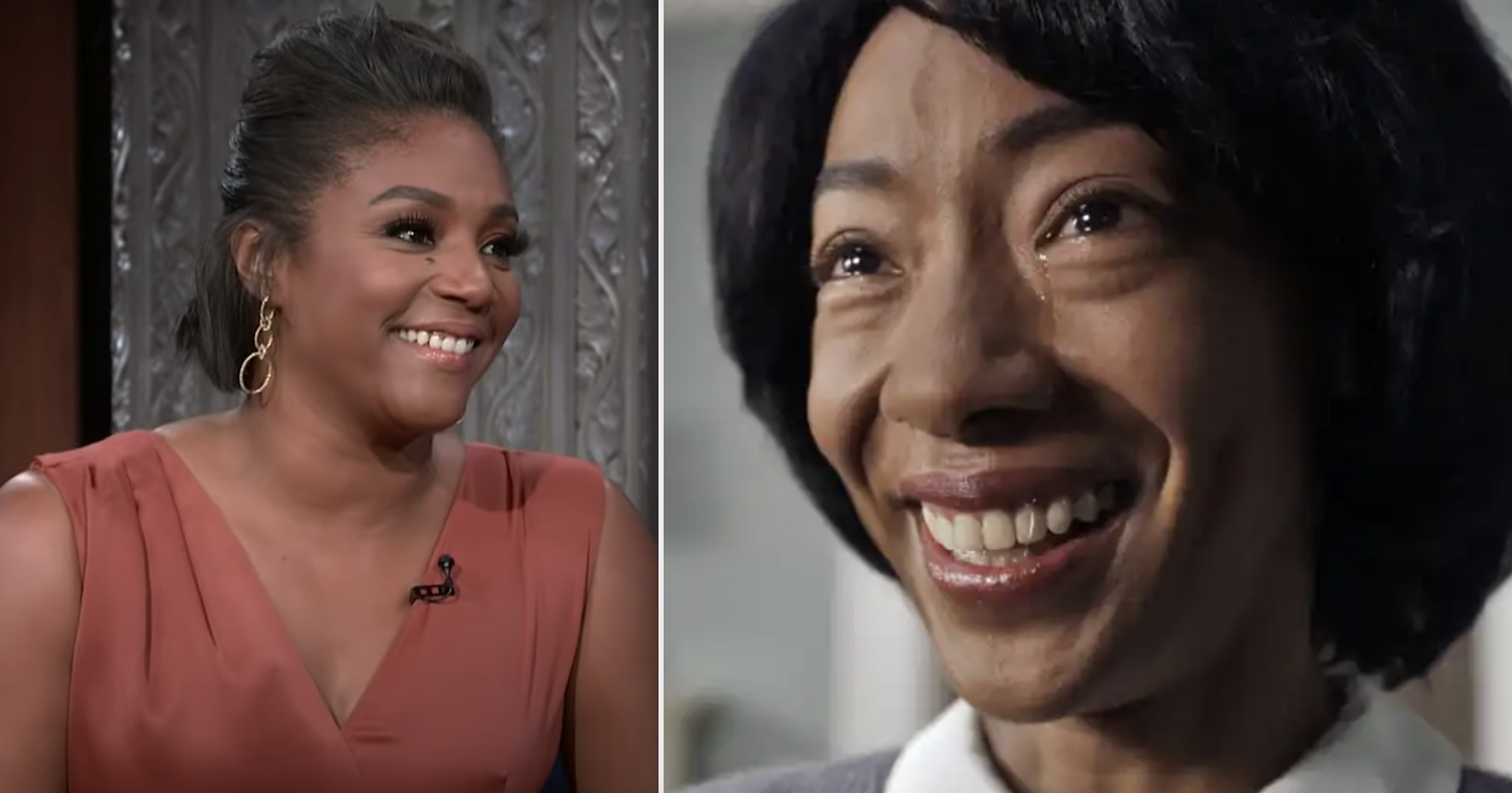 "Tiffany Haddish on Stephen Colbert's talk show and Betty Gabriel in ""Get Out"""