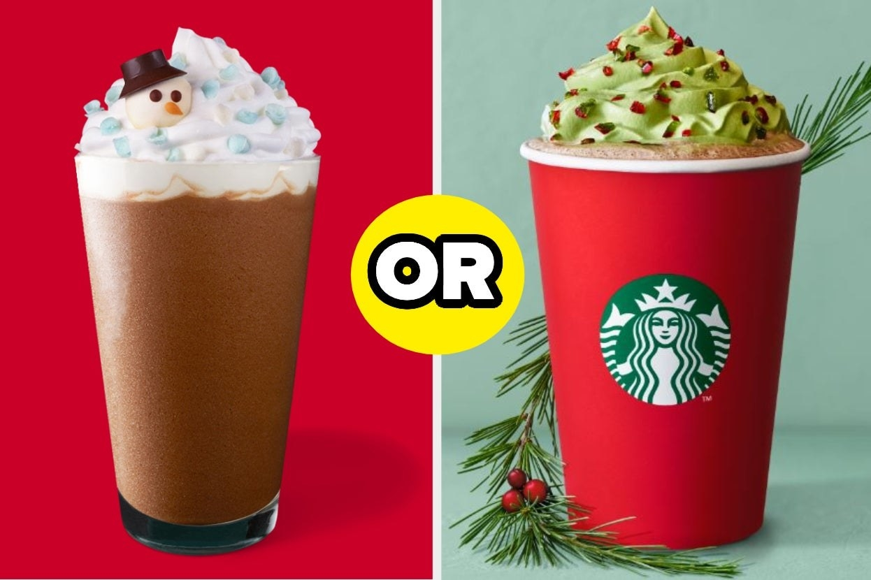 A mocha frappe with a snowman on top and a hot christmas tree latte with green whipped cream