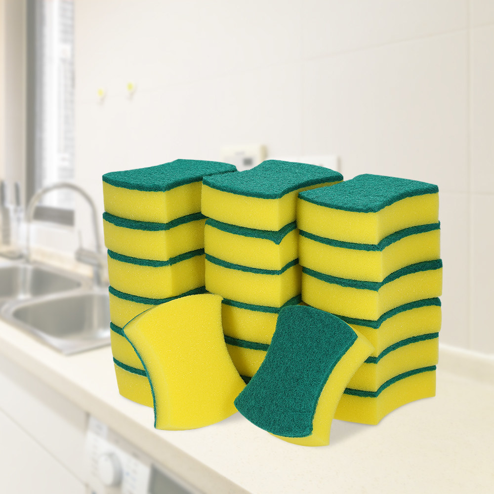 the pack of 20 sponges with scrubber sides on the counter