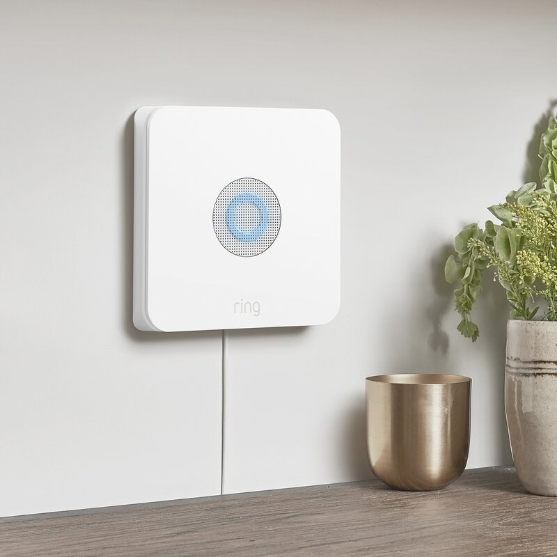 The Ring motion detector, which is square and is mounted on the wall