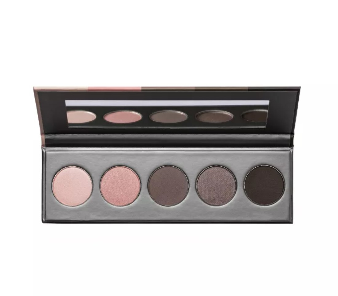 An eye shadow palette with five colors, ranging from light pink to dark brown.