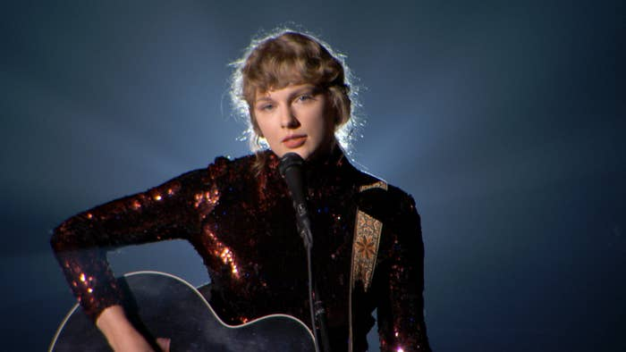 Taylor Swift performs onstage during the 55th Academy of Country Music Awards at the Grand Ole Opry on September 16, 2020 in Nashville, Tennessee