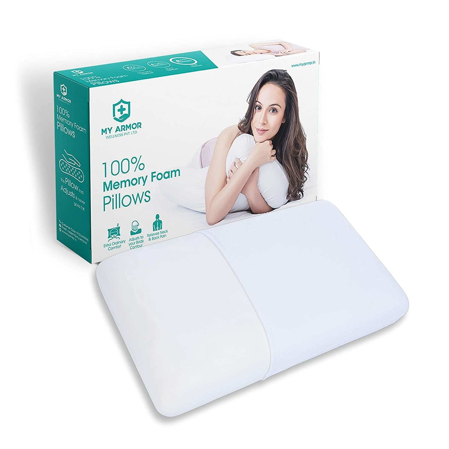 A memory foam pillow with the packaging