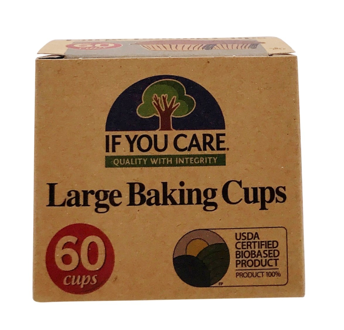 A cardboard box with 60 large baking cups.