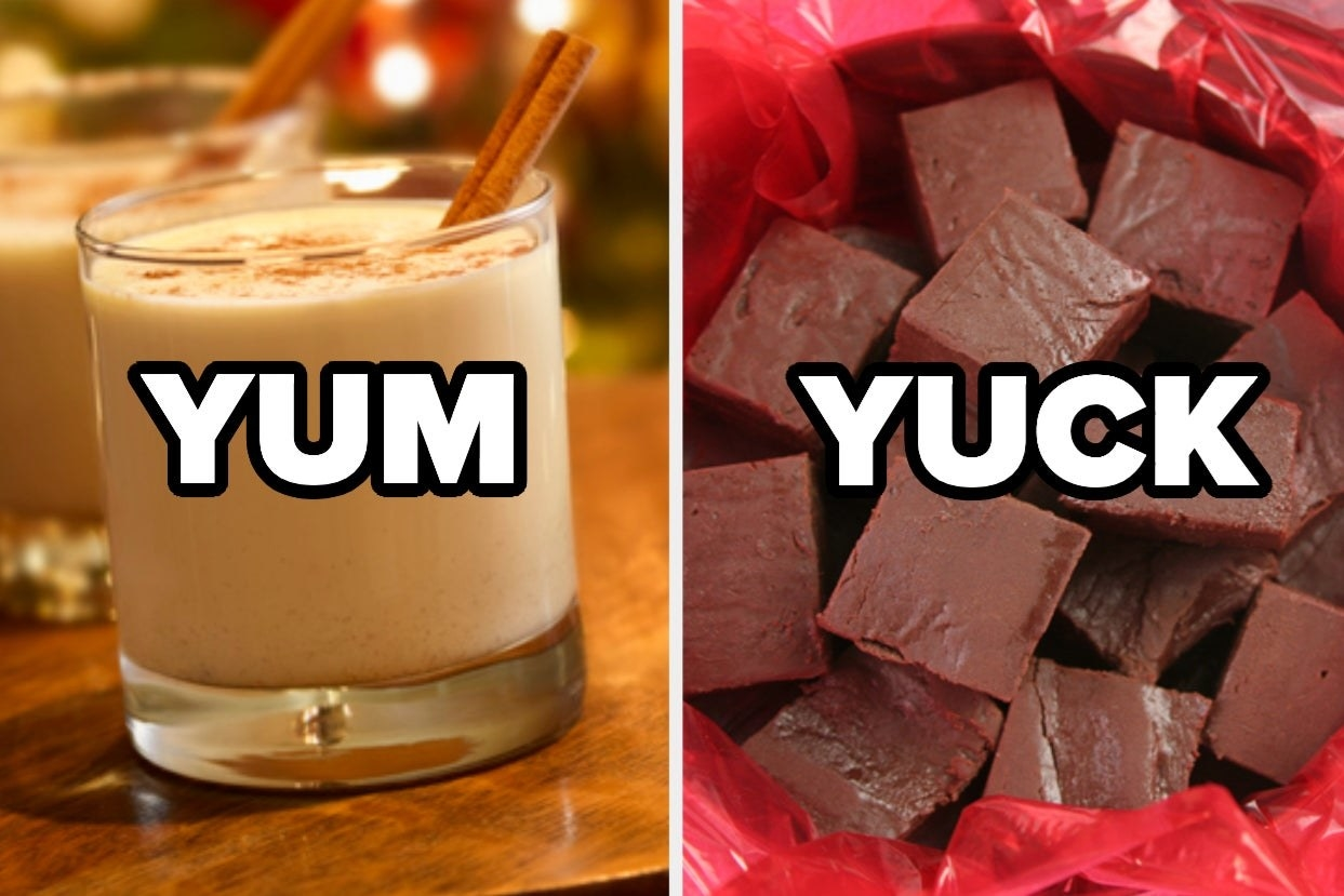 "Eggnog labeled ""yum"" and fudge labeled ""yuck"""