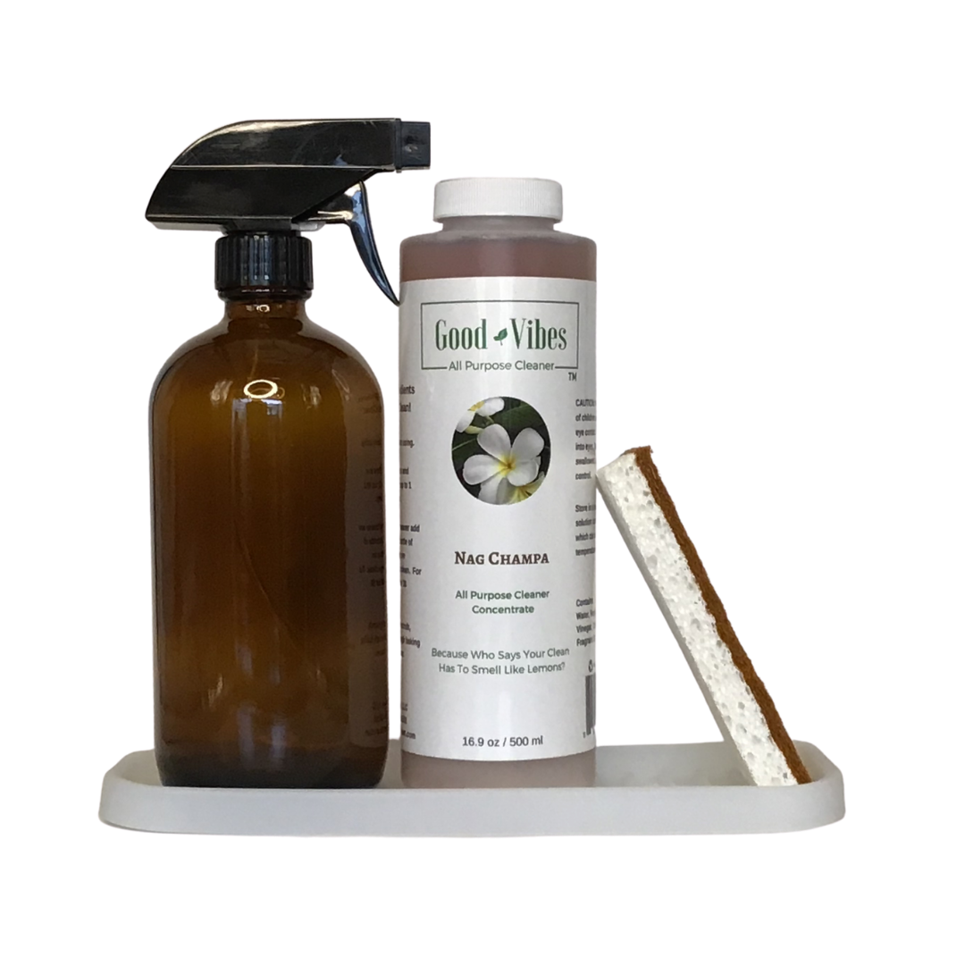 the plant-based all-purpose cleaner, coconut sponge, and glass spray bottle