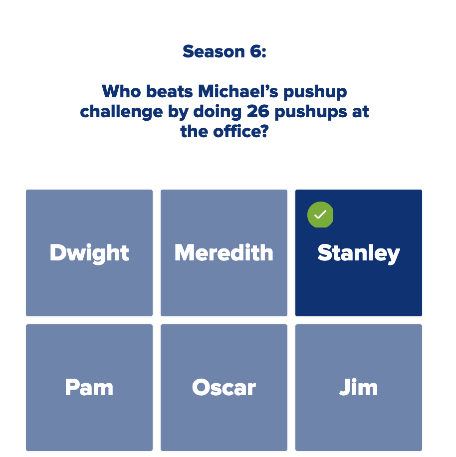 """A trivia quiz question, asking: """"Who beats Michael's pushup challenge by doing 26 pushups at the office?"""""""