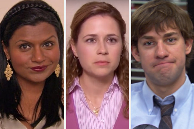 Kelly Kapoor, Pam Beesly, and Jim Halpert all looking into the camera with sly expressions