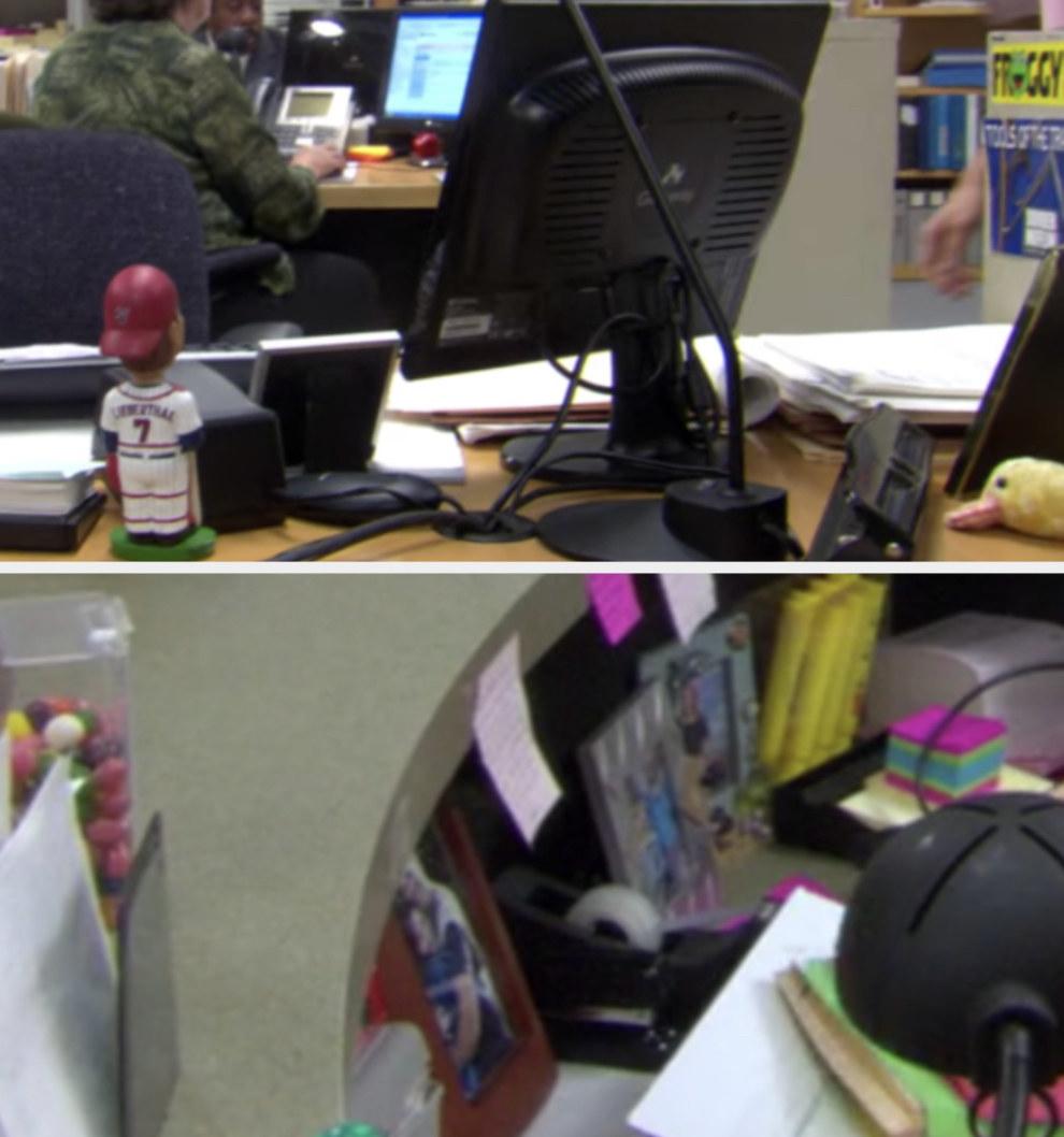 A screenshot of Dwight's desk and a screenshot of Pam's desk