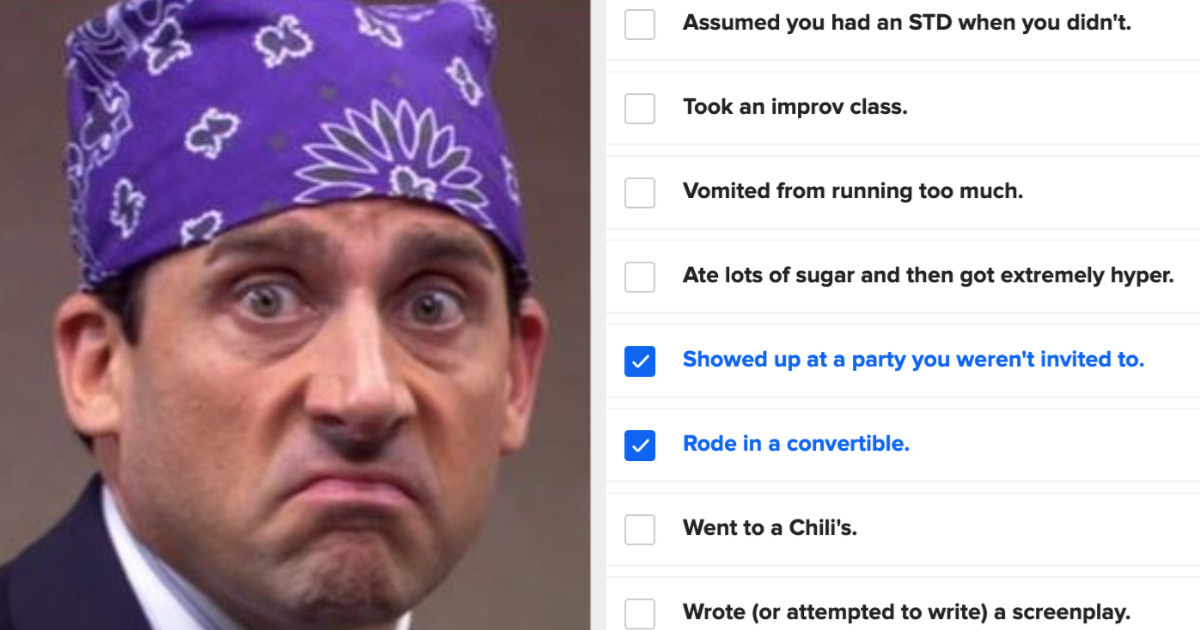 """An image of """"Prison Mike"""" wearing a bandana; a checklist of questions to see if your personality matches with Michael Scott's"""