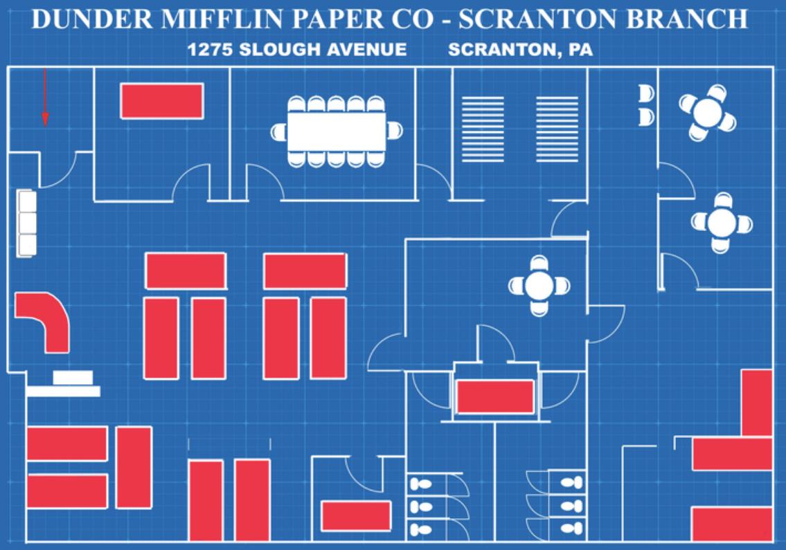 An original floor plan of the Dunder Mifflin Paper Co. office in Scranton, PA