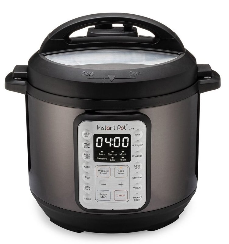 a silver and black instant pot pressure cooker with a digital display