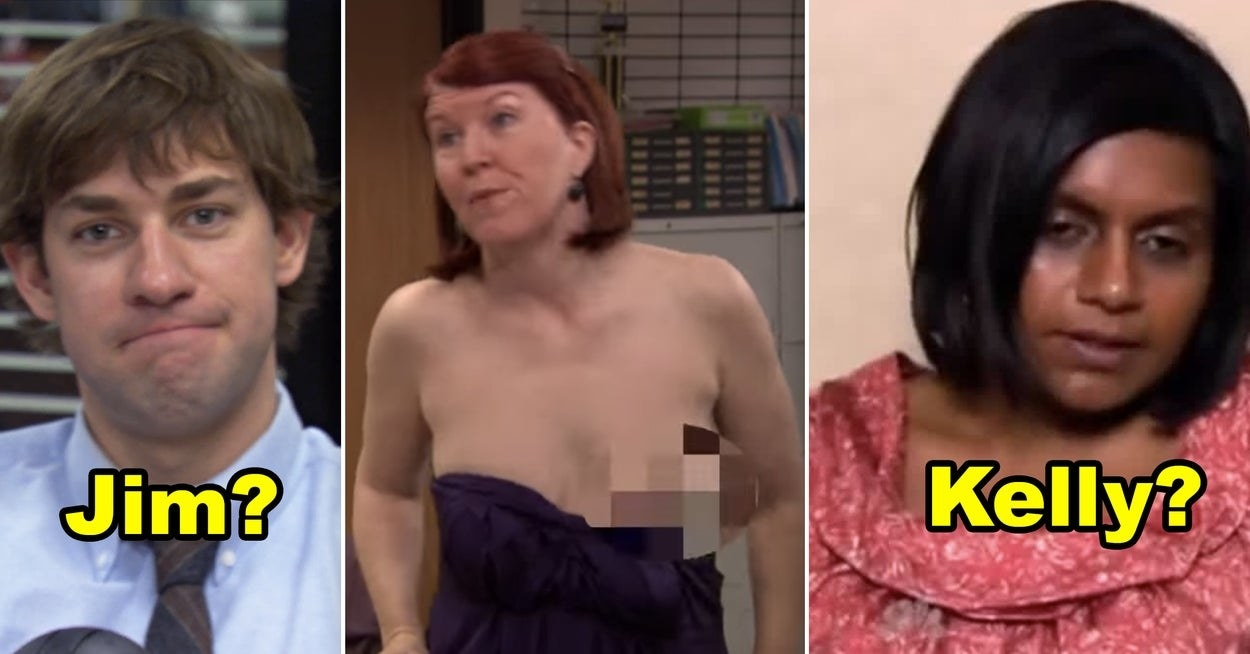 Jim making a cute smirk to the camera, Meredith wearing a dress with one of her breasts hanging out, and Kelly looking miserable while on a diet