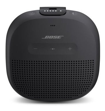 a black bose speaker with buttons at the top and front of the speaker