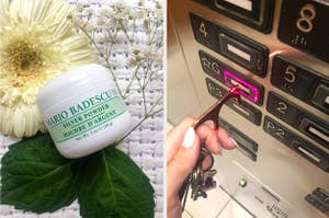 A container of acne-drying powder, A person using a small metal hook to push an elevator button