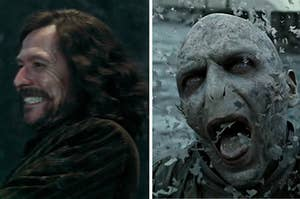 Sirius Black on the left and Voldemort on the right, disintegrating before his death