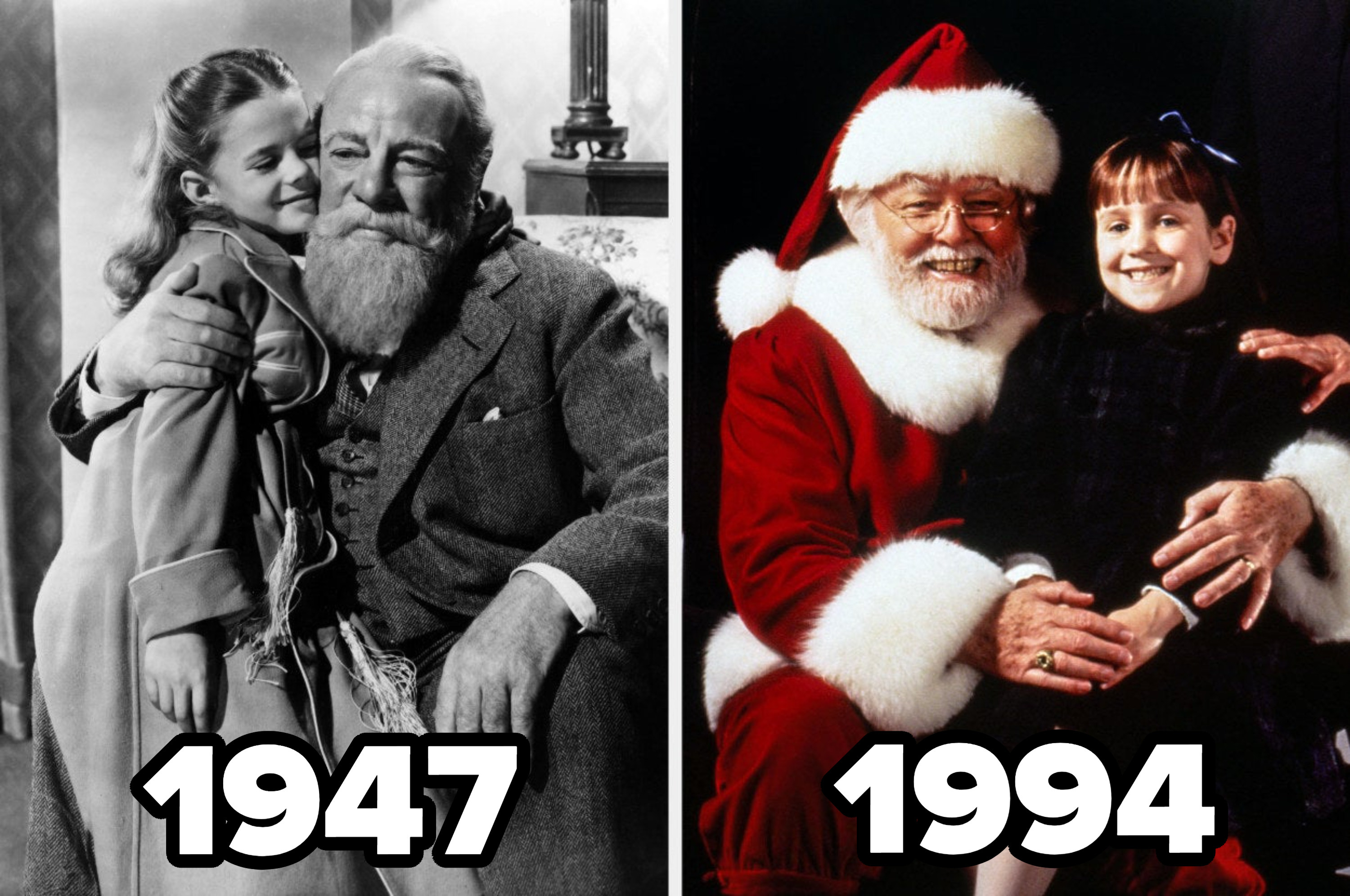 """Susan Walker with Santa in the 1947 """"Miracle on 34th Street"""" next to her with Santa in the 1994 remake"""