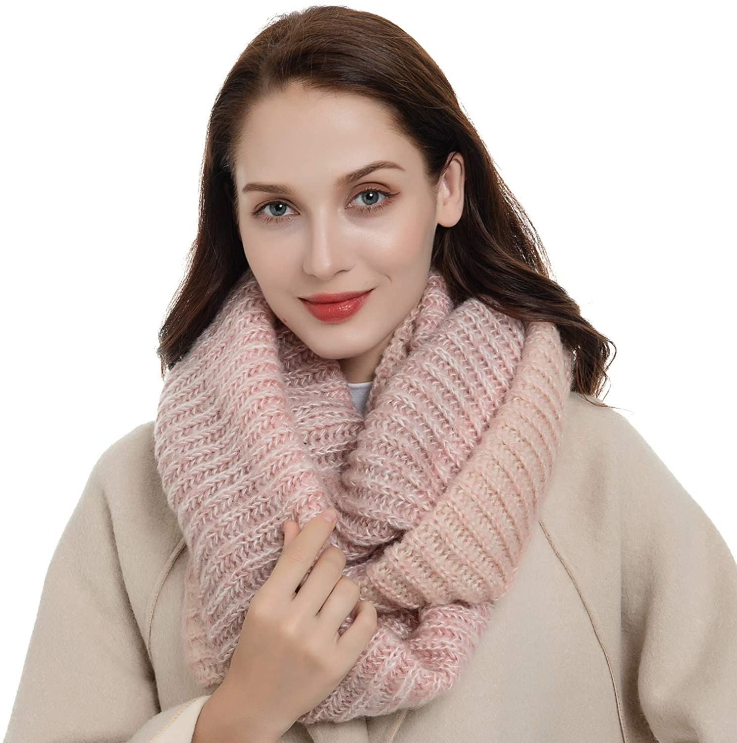 model wearing the pink scarf