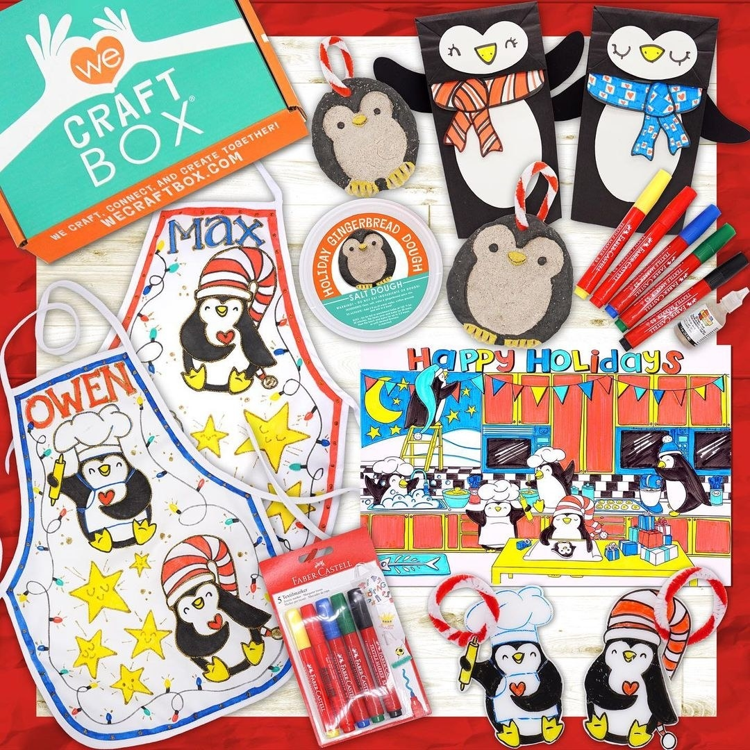 a penguin-themed craft box