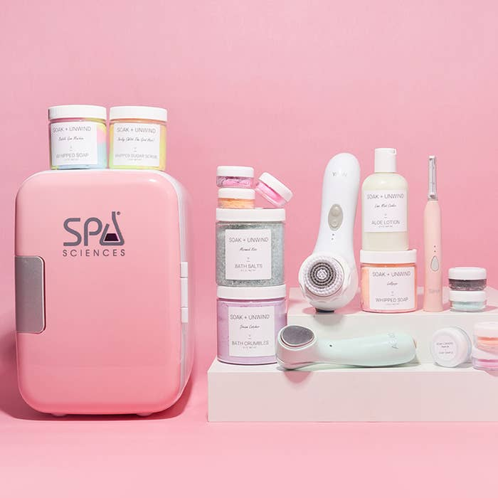 pink spa sciences fridge with skincare on the side