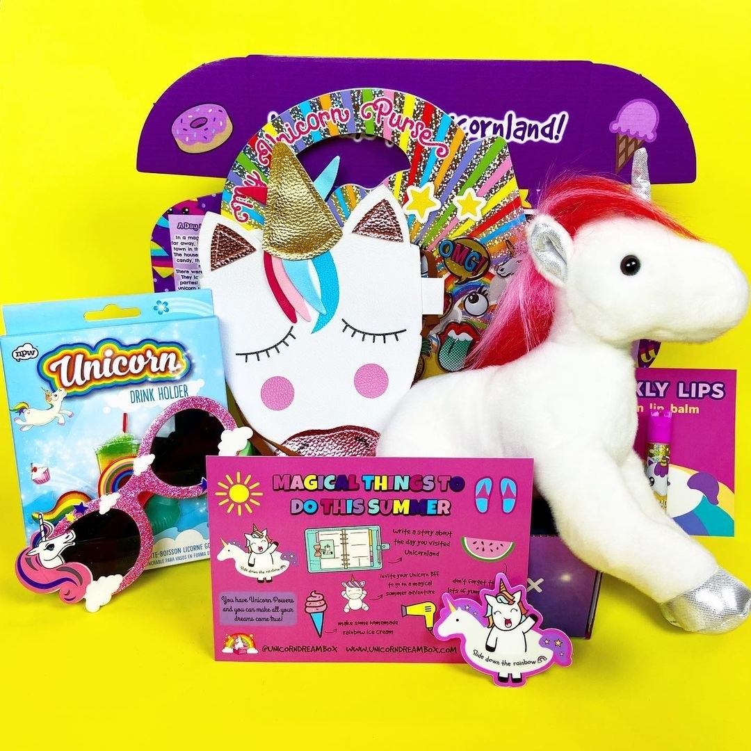box filled with various unicorn-themed items