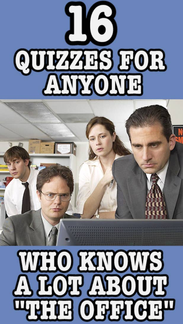 """A header image with Jim, Pam, Dwight, and Michael from """"The Office"""" that reads: """"16 Quizzes For Anyone Who Knows A Lot About 'The Office'"""""""