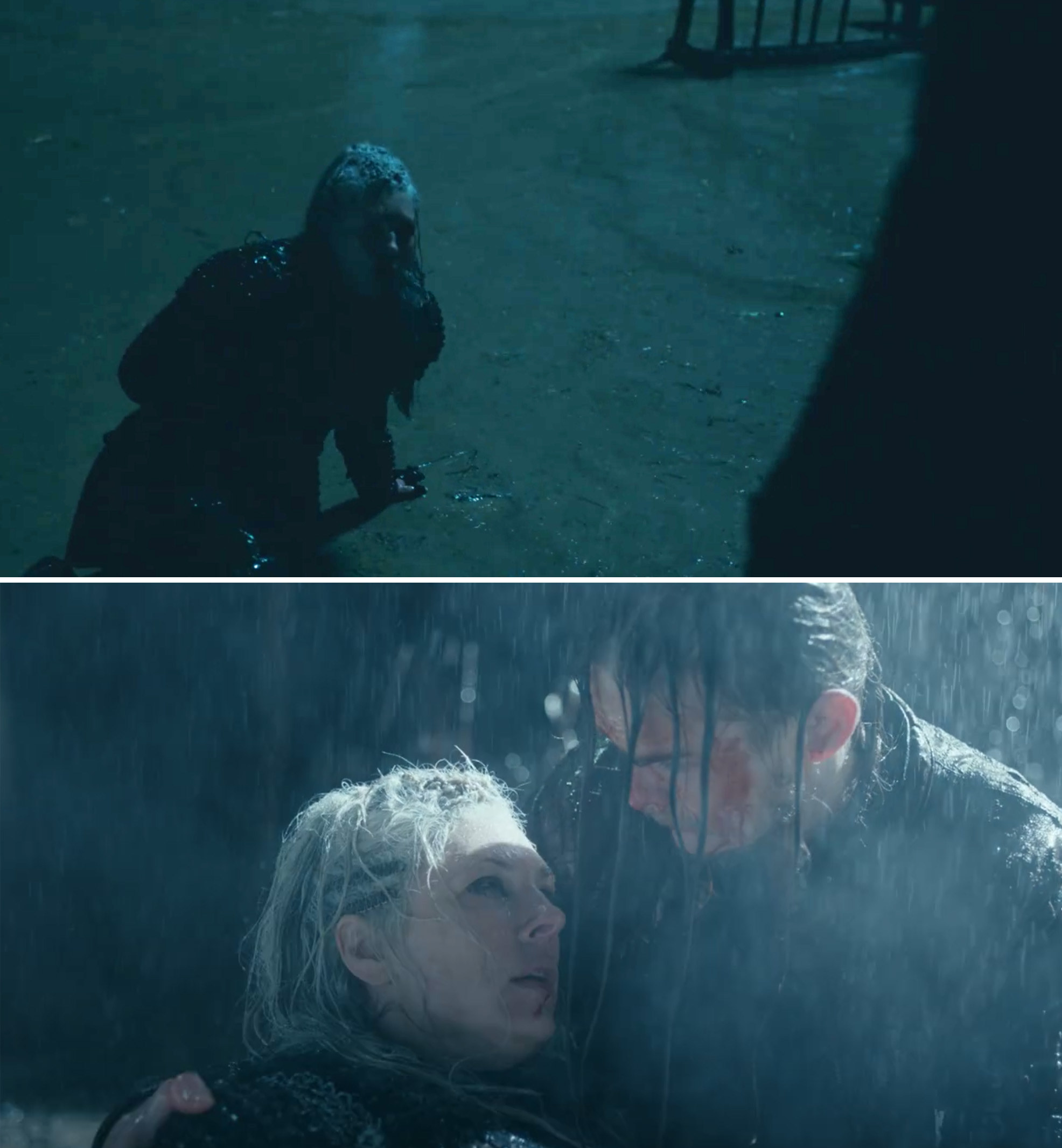 Legartha being stabbed and dying in Hvitserk's arms