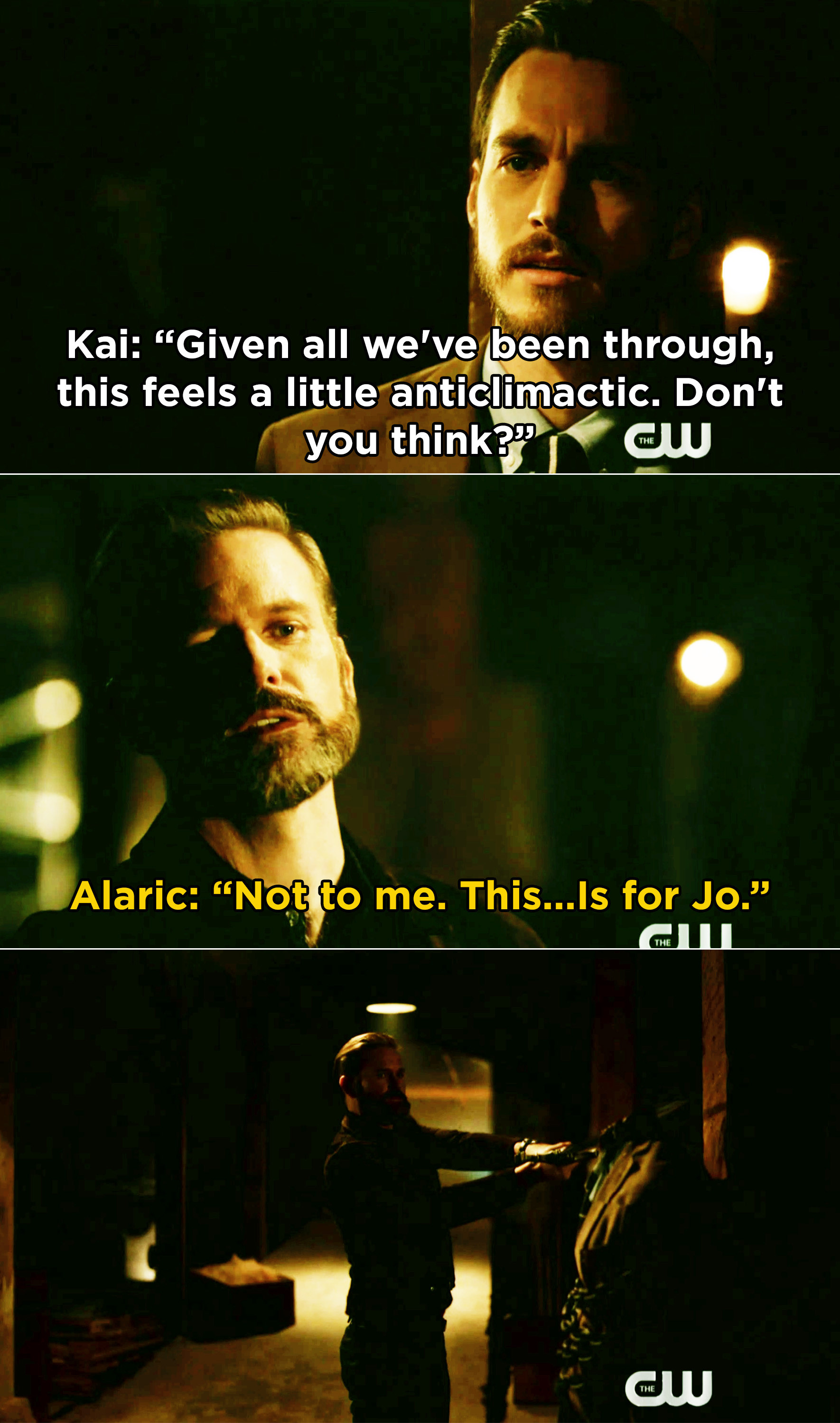 """Alaric saying, """"This is for Jo"""" then decapitating Kai"""
