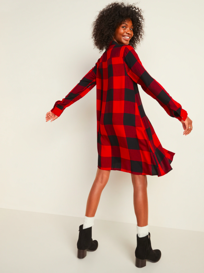 the dress in red and black square plaid