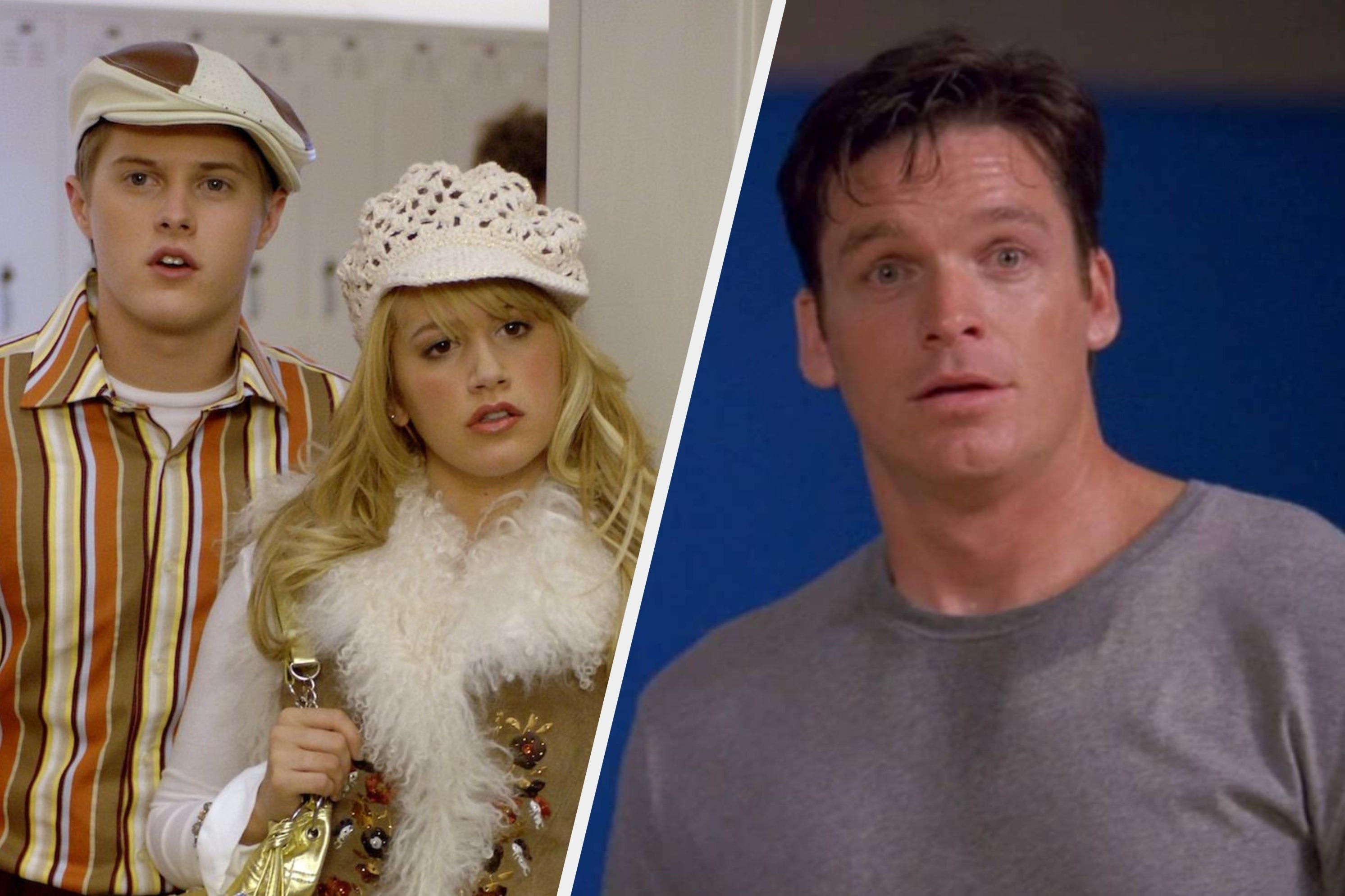 Ryan, Sharpay, and Coach Bolton looking confused