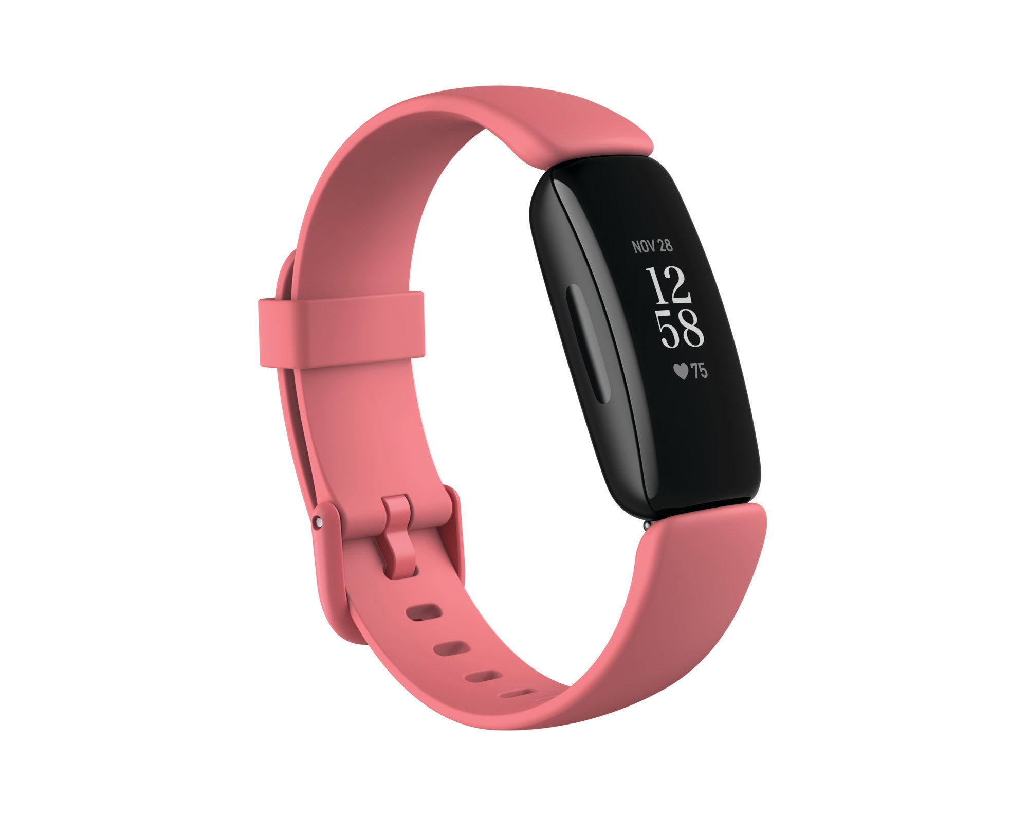 fitbit fitness tracker with a pink band